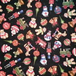 Tela Navidad adornos negra