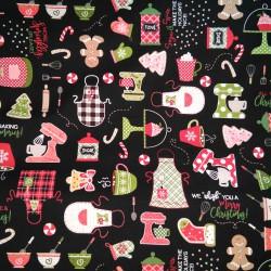 Tela Navidad delantales negra