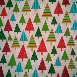 Tela Navidad arboles multicolor