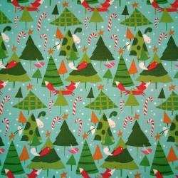 Tela Navidad arboles/animales verde