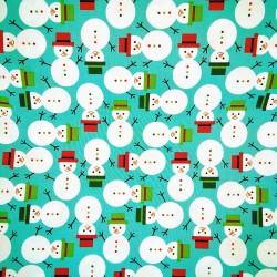 Tela Navidad muñecos de nieve
