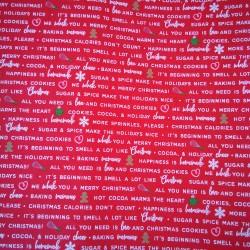 Tela Navidad letras blancas roja