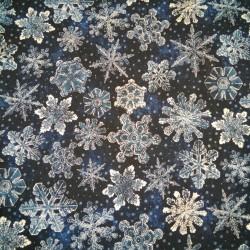 Tela Navidad copos de nieve azul