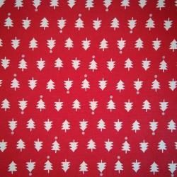Tela Navidad  roja arboles
