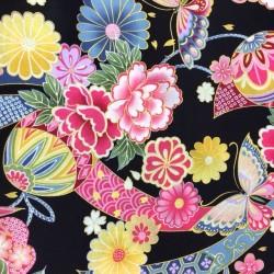 Flowers & Butterflies Black B40 Kokka (10cm.)